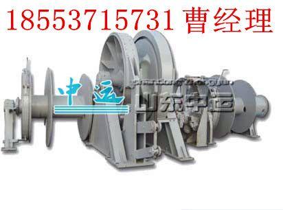 电动起锚机工作原理 电动机通过蜗杆-蜗轮和齿轮两级减速,带动绞缆