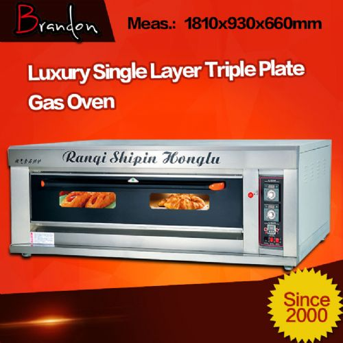 Single deck three trays gas industrial baking oven
