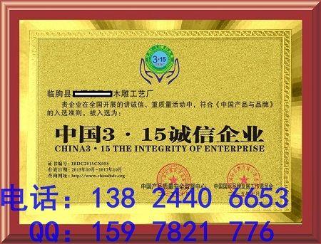 中国315诚信企中国315诚信企业***怎么申报 价格:100元