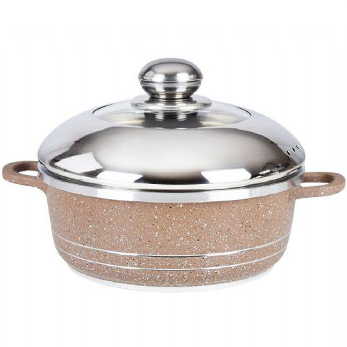 32CM Die cast aluminum soup pot semi glass lid