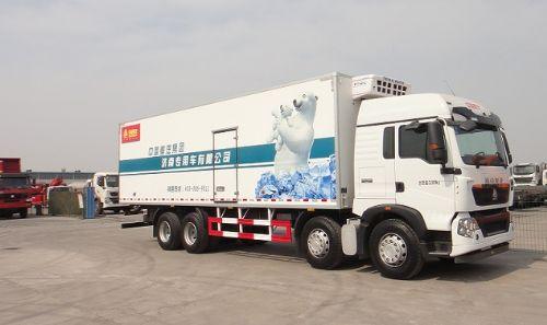 豪沃T5G(9.5米厢式冷链肉钩冷藏车)厂家销售报价