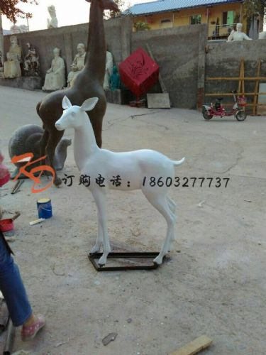 上海康大雕塑荣源石雕 黄锈色山羊石雕动物雕刻