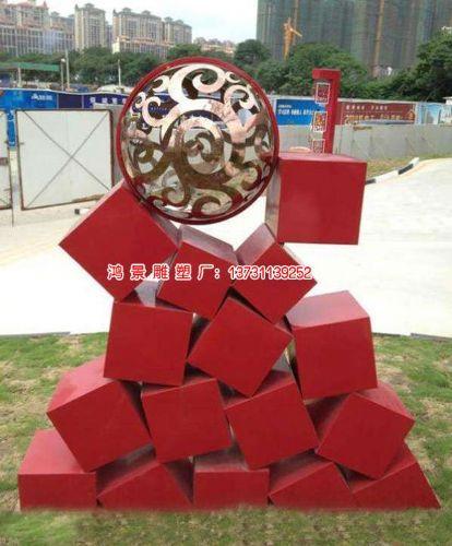 不锈钢长方体积山雕塑 矩体不锈钢雕塑图片