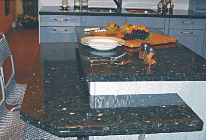Blue granite countertops wl cm stone works granite for Granite countertops price per linear foot