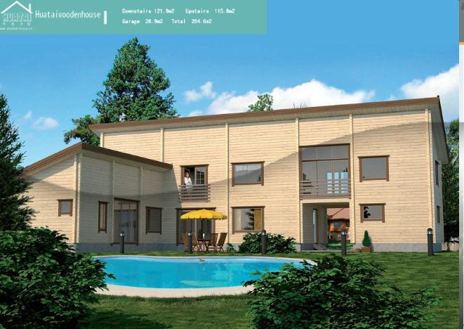HT-M-010 休闲木屋 尺寸:2090(L) x 1570(W) cm 原材料:加拿大进口SPF 墙体厚度:7.2cm,地板厚度:3.6cm,顶板厚度:1.7cm(常规厚度) 格局:三室二厅一厨二卫 木屋的外观富有现代感。去除房屋复杂的外观设计扩大了室内活动空间。此外,房屋还配有一间车库。