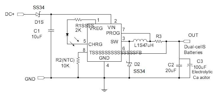 5a大电流锂电充电芯片 gs1412/gs7002 8.4v双节锂电池充电ic 1.