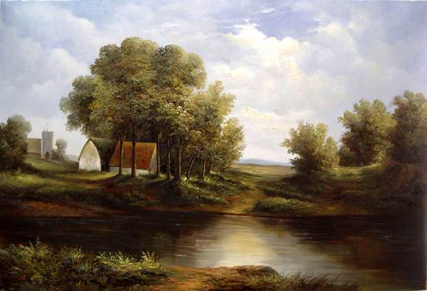 欧式美风景油画