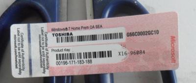 Windows 7 Home Prem COA Label Sticker , Key Card,