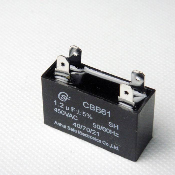 CBB61交流马达电容器 本电容器采用边缘加厚的金属化锌铝膜作为电极和介质。再在ABS或PBT立方体塑料外壳中装入阻燃环氧树脂。本产品拥有体积小,性能高和使用寿命厂等特点。 适用范围: • 广泛用于空调风机、电风扇、排风扇等频率为50Hz/60Hz交流电源供电功率相对较小的单相电机启动和运行。  技术规范 •执行标准:GB/T3667-2005 •技术特性: 气候类别:40/70/21或40/85/21 •容量偏差:5% •绝缘电阻:3000
