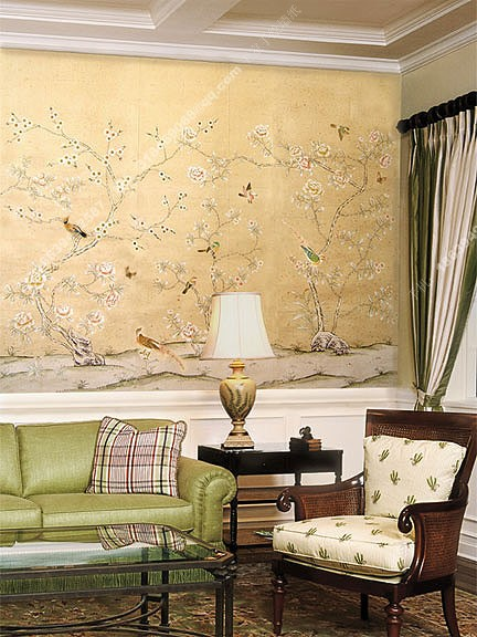 手绘墙纸的优点    手绘墙纸是极具个性的墙纸,本公司可以根据客户的