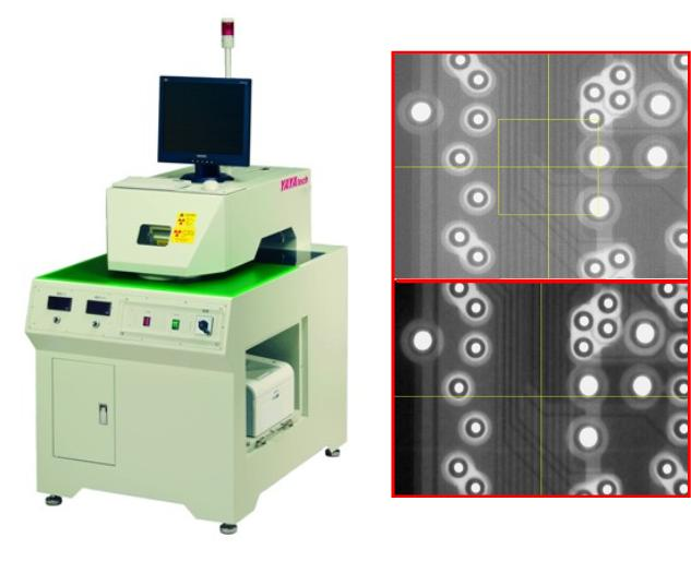 利用X-ray 穿透原理,檢視PCB內層偏移情形。可利用X-ray 檢視同心圓是否偏移,孔是否有鑽偏,及線路是否有偏移. 主要客戶:日本松下、日本Meiko、欣興、富士康...等 1.適用於壓合及鑽孔後內層對位檢查 2.可選擇單張,四角列印或多角列印 3.影像可依料號分開儲存,亦可及時列印 4.