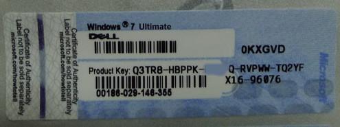 Win7 Ult OEM COA Key Sticker Label -Dell/Hp/Lenovo