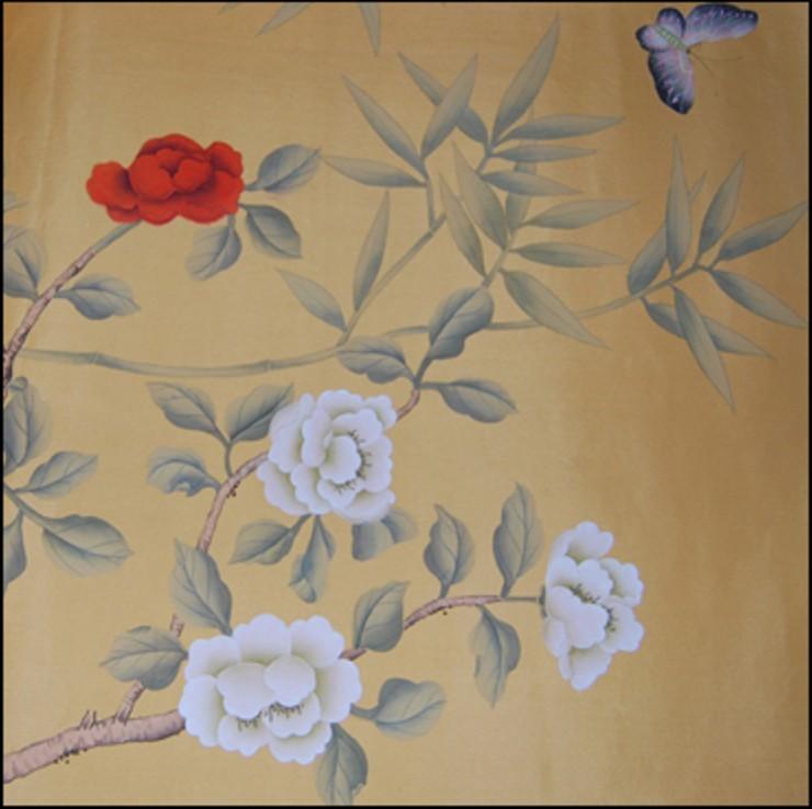 杏枫轩真丝手绘壁纸/丝绸手绘屏风/金箔 价格:550元