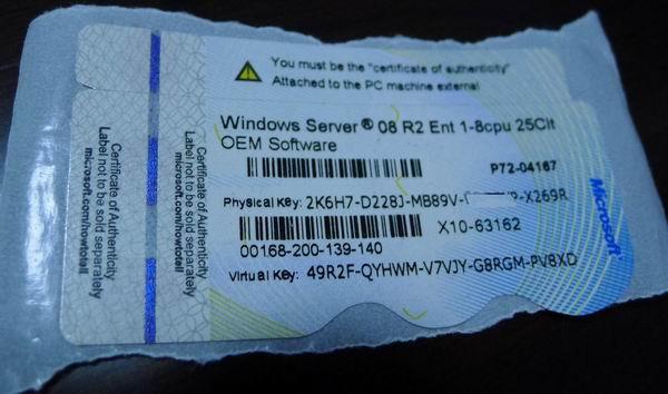 Windows server 2008 r2 enterprise oem coa 25 cals
