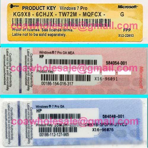 Windows 7 Pro Product Key OEM COA Label Sticker