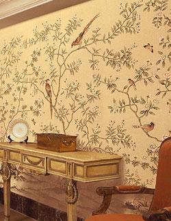 王室墙纸丝绸手绘壁纸 高档真丝墙纸 价格:680元/平方