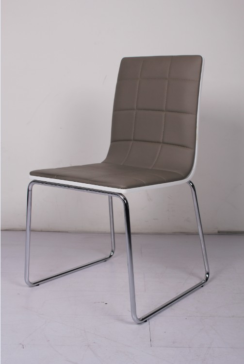 Modern pu dining room chair without arms for Contemporary dining room chairs with arms