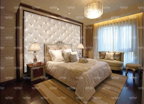 福家软包简欧卧室软包背景墙,床头软包背景 价格:380元/平图片