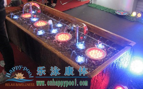hp防腐木长方形水景鱼池喷泉小型摆件
