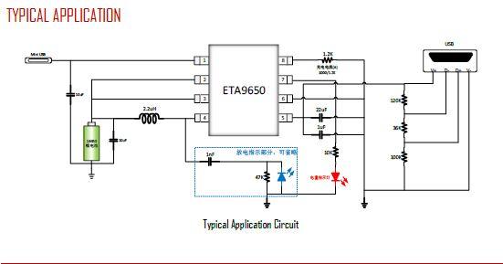 1 输入电压范围4.2-5.5V 2 充电1A 3 放电1A 4 单颗LED***电量显示 5 空载识别 6 充电截止电压 ETA9640:4.2V ETA9650:4.35V 7 输出短路保护锁死 8 放电同步升压, 钰泰ETA 产品主要应用于机顶盒、数码相机、电子玩具、便携式3G无线路由器、蓝牙、MP3/4/5、平板电脑、蓝牙耳机、光纤猫、LED驱动、通讯,网通,DSL、智能电表及仪表、工业级应用、汽车电子,车充